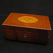 Antique Early American 18/19th century wood jewelry casket with cupid incised inlaid round on