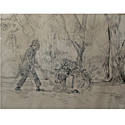 "Bill Komodore (1932-2012) - ""Leafblower"" � 1973, original charcoal drawing on paper"