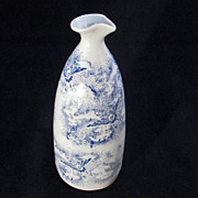 Vintage Japanese Blue Stencil Handmade Porcelain Sake Bottle with Bird Soaring into Clouds