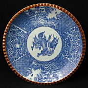 Meiji Period Japanese Transferware Blue & White Porcelain Igezara plate with Kirin Design