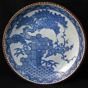 Large Meiji Japanese Transferware Igezara Blue and White Porcelain Charger with three friends
