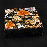 Early 20th century Chinese presentation box with ornate satin stitch embroidered top
