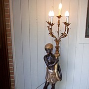Lamp Early 1900's Italian Blackamoor Candelabra Light Fixture