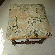 French Circa 1900's Needle Point Design  Walnut Stool Original
