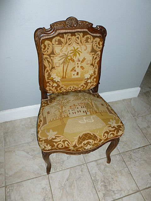 Palatial Set French 1800's Louis XV Style Needlepoint Walnut Chairs