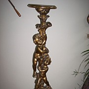Putti Gilded Handcarved Strong Angel Fernstand 1900's Italy