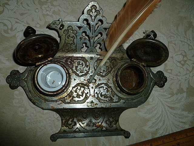 Art Nouveau German Inkwell Set Quill Signed