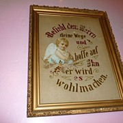 CA.1890's German Religious Angel Art Bild Needle Point