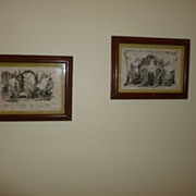 Humorous Pair of Coffee House Prints late 1800's Germany