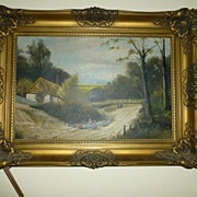 Important late 1800's Dutch Oil on Canvas in Gilded Frame
