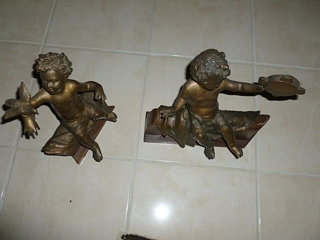 Wonderful Pair of Late 1800's Italian Bronze Angel &quot;Puttis&quot;