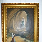 """Lourdes"" Signed Oil on Canvas Religious Painting France ca.1880"