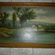 "Frame Marked Oil on Canvas ""Lake Cottage Life"" England ca. 1880"