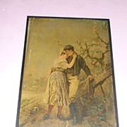 "SALE ""Lover's Good-Bye"" of Soldier Polychrome Embossed Bohemia 1900's"