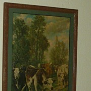 "SALE European ""Cows on their Way to Dinner"" in Color Signed Framed"