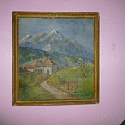 "SALE Signed Oil on Board  ""Alpine Paradise"" Germany"