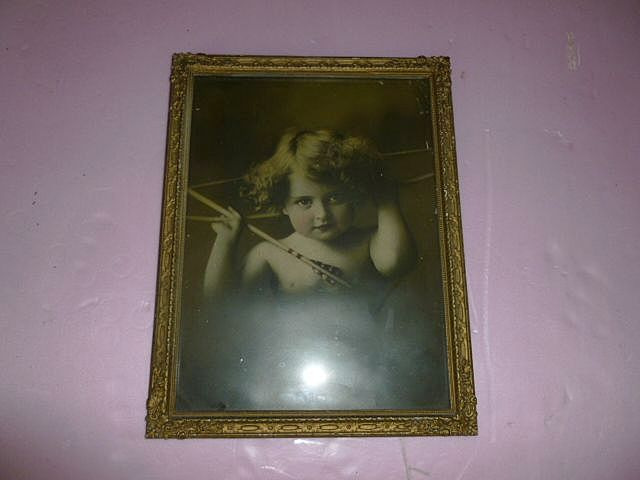 "Large Advertising ""Cupid Awake"" Framed Copyright 1897"