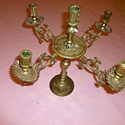 Heavy French Brass Candelabra