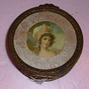 French Gilt Bronze Box with Polychrome Lady Ca.1890's