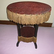 Late Victorian Round Velvet Table England Ca.1880's