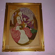 "REDUCED Medallion French Baroque Style Needle Point ""Lovers at Play"""
