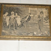 "Interesting ""Tea Time"" Picture Tray England 1900's"