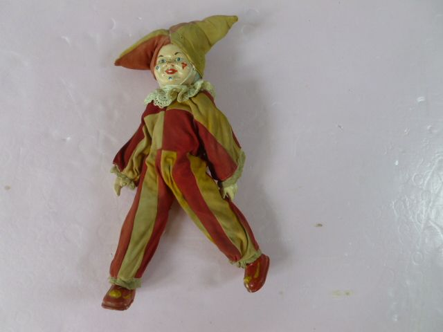 Happy Circus Harlequin Doll Original France 1900's