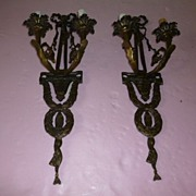 Pair French Inspired Wall Sconces Heavy Bronze