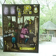 "Exhilarating Dutch Stained Glass ""Clockmaker"""