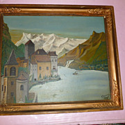 Swiss Villages Oil: Rhine with Steamer and Alps