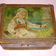 """Rowing Beauty"" Mirrored Treasure Box Ca.1890's"