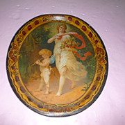 "Large Colorful Metal Medallion Charger ""Lady in Love"""