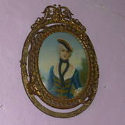 Gilt Bronze Picture of French Contessa Signed