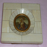Framed Religious Picture of Mary with Large Halo