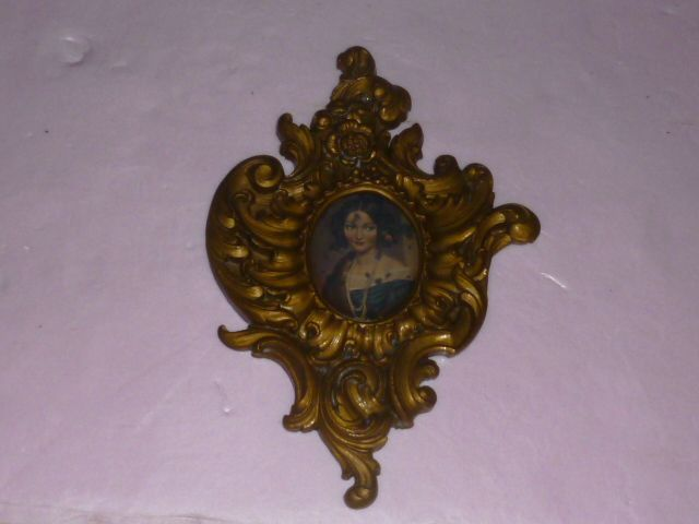 Italian Contessa Reverse Painted inside Gilded Frame