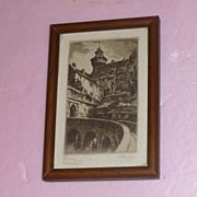 """Nuernberg"" Pencil Picture Signed in Frame"