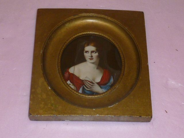Italian Miniature &quot;Devout Lady&quot; in Gilded Frame