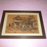 Inscripted German Sepia Picture of Medieval Farm Life
