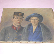 "Signed Oil  ""French RR Official and Socialite Wife"""