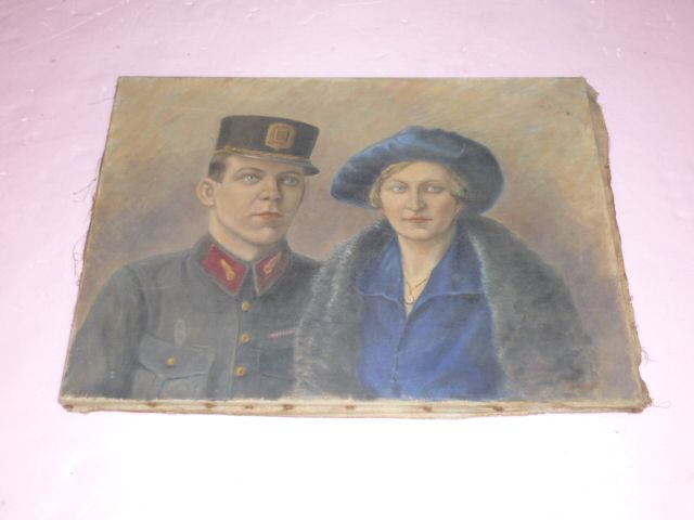Signed Oil  &quot;French RR Official and Socialite Wife&quot;