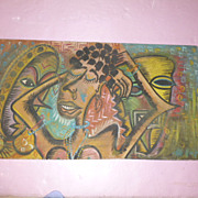 "Original African Painting ""Abstract Ecstasy Dancers"""