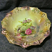SALE RS Prussia bowl roses rare Tiffany lustre finish cabochon jewels gold accents large 11 ..
