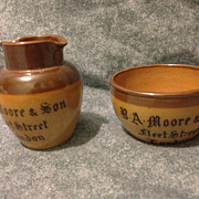 SALE Royal Doulton salt glazed stoneware creamer and open sugar made for Moore & Son