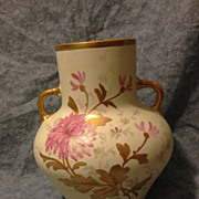 "SALE Large antique English vase circa 1880s 9"" hand painted floral and gold gilt EXC"