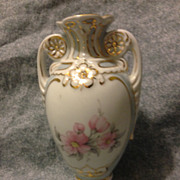 "SALE Royal Dux 6"" porcelain vase blue & white with pink flowers and gold gilt Mint"