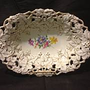 Meissen reticulated floral tray with Dresden style flowers and gold gilt 1930's Mint
