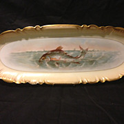 "CFH/GDM Haviland Gerard Dufraisseix Morel Limoges Fish tray large 24"" by 9"" 1891"