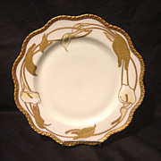 "Haviland Limoges studio decorated Nouveau 10"" cabinet plate calla lily gold gilt"