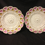 Pair of Meissen shell and leaf mold plates in pink and gold 1814-1824 very ...