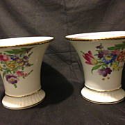 "Pair of Carl Thieme trumpet vases with Dresden flowers and gold gilding circa 1901 6"" tal"